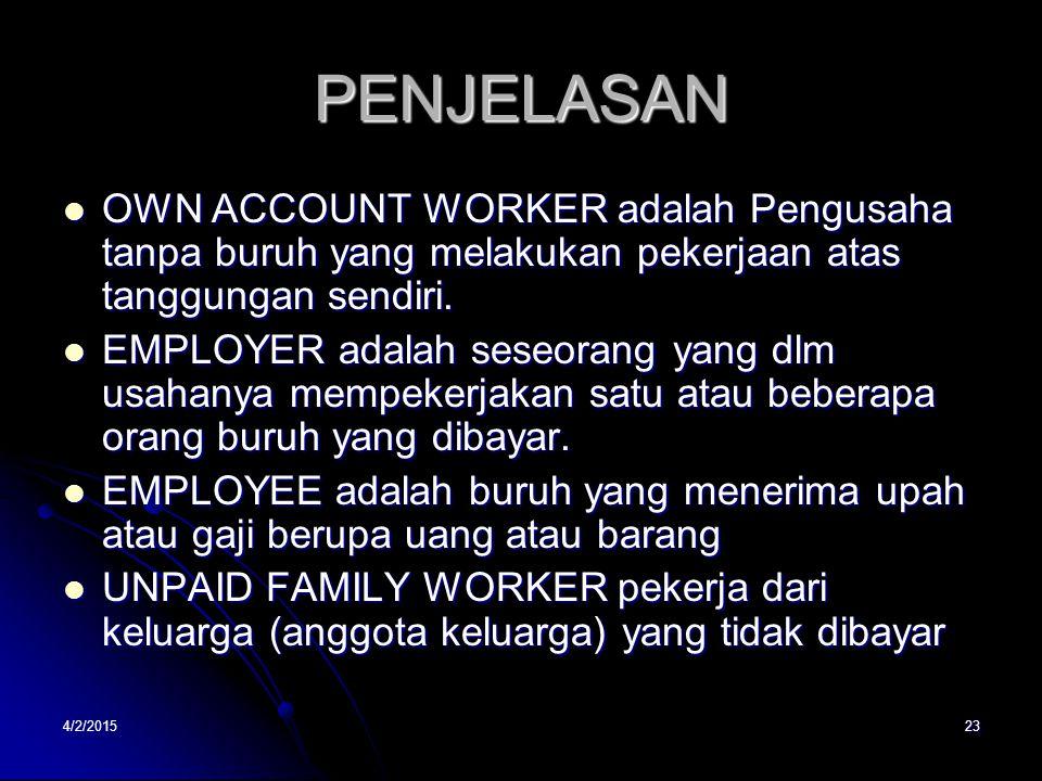 PENJELASAN OWN ACCOUNT WORKER adalah Pengusaha tanpa buruh yang melakukan pekerjaan atas tanggungan sendiri.