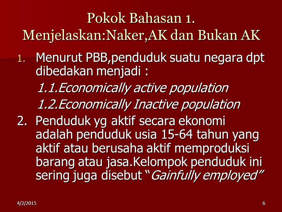 Pokok Bahasan 1. Menjelaskan:Naker,AK dan Bukan AK