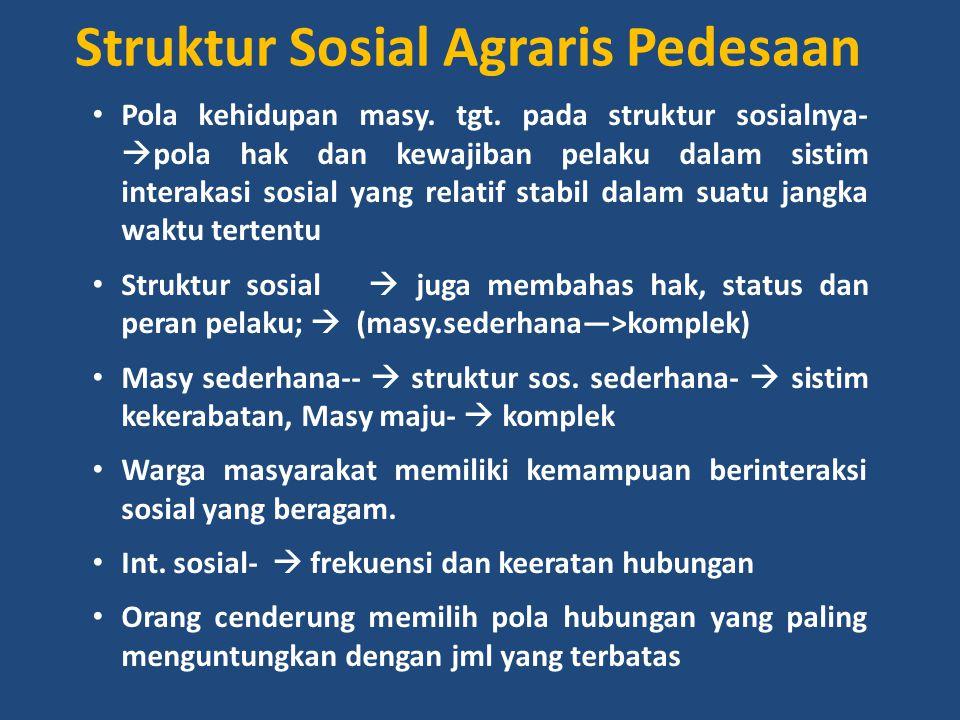 Struktur Sosial Agraris Pedesaan