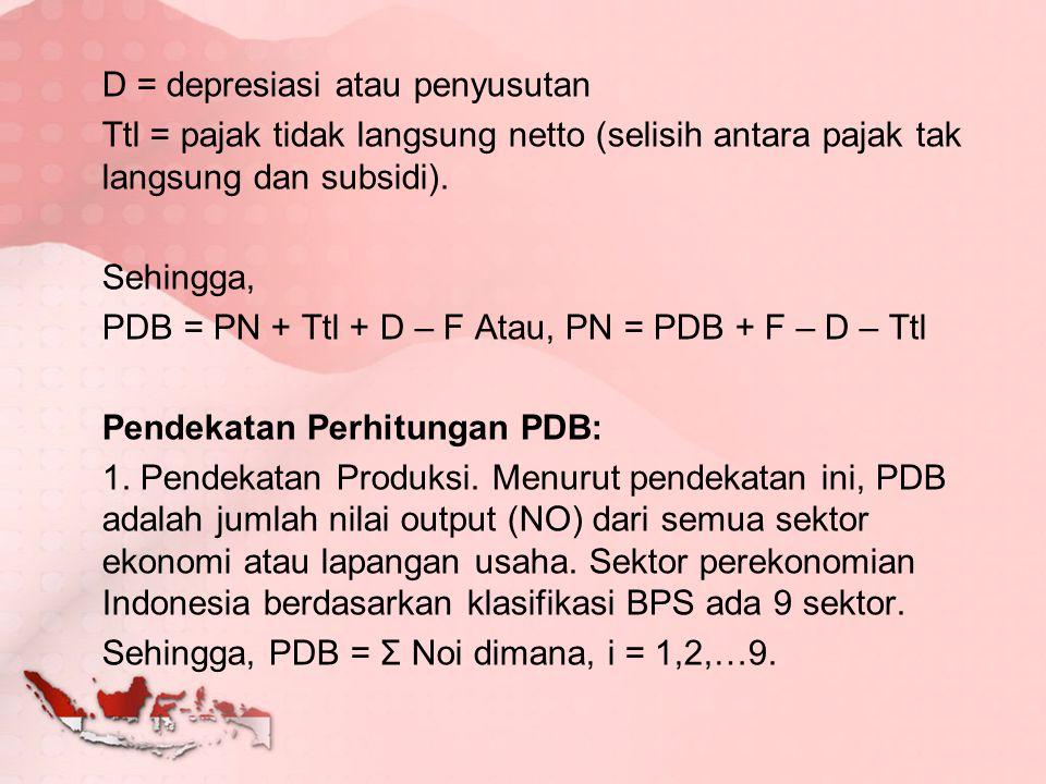 D = depresiasi atau penyusutan Ttl = pajak tidak langsung netto (selisih antara pajak tak langsung dan subsidi).