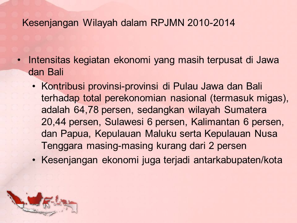 Kesenjangan Wilayah dalam RPJMN 2010-2014