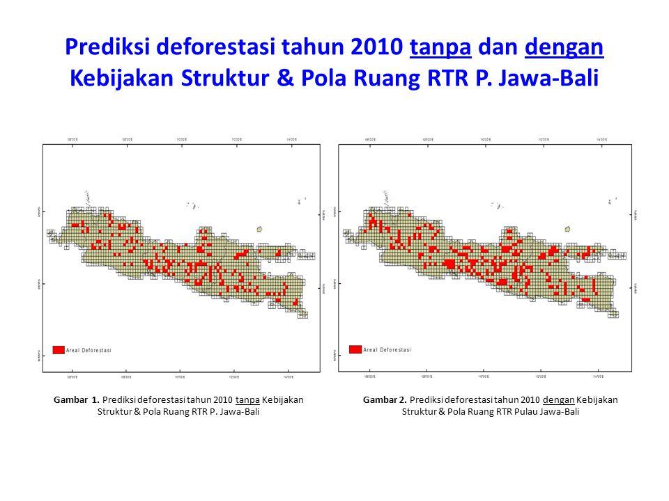 Prediksi deforestasi tahun 2010 tanpa dan dengan Kebijakan Struktur & Pola Ruang RTR P. Jawa-Bali