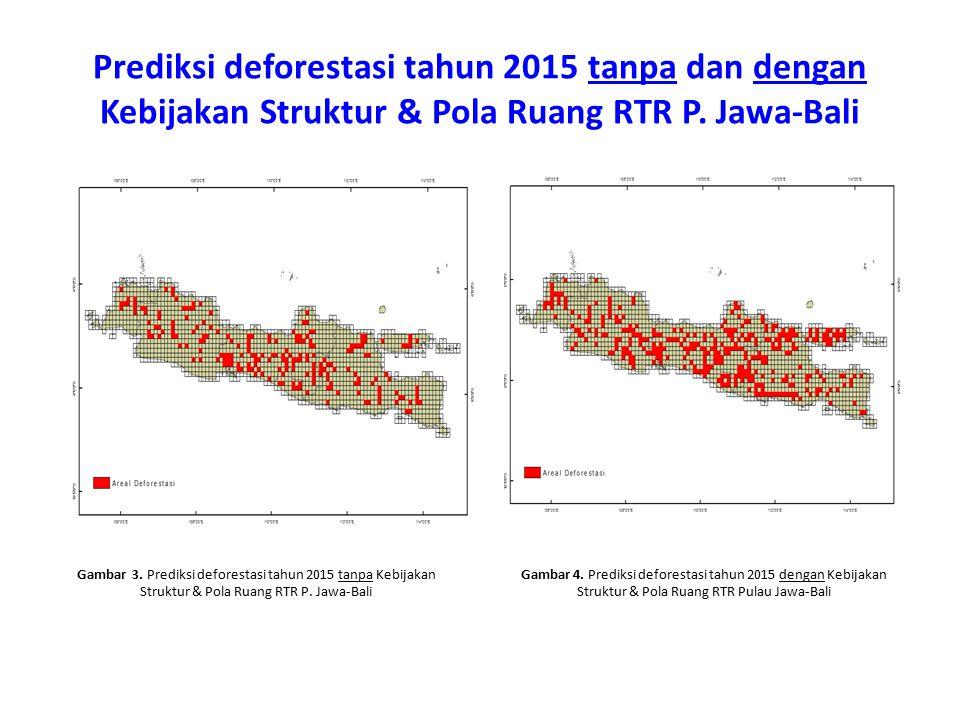 Prediksi deforestasi tahun 2015 tanpa dan dengan Kebijakan Struktur & Pola Ruang RTR P. Jawa-Bali