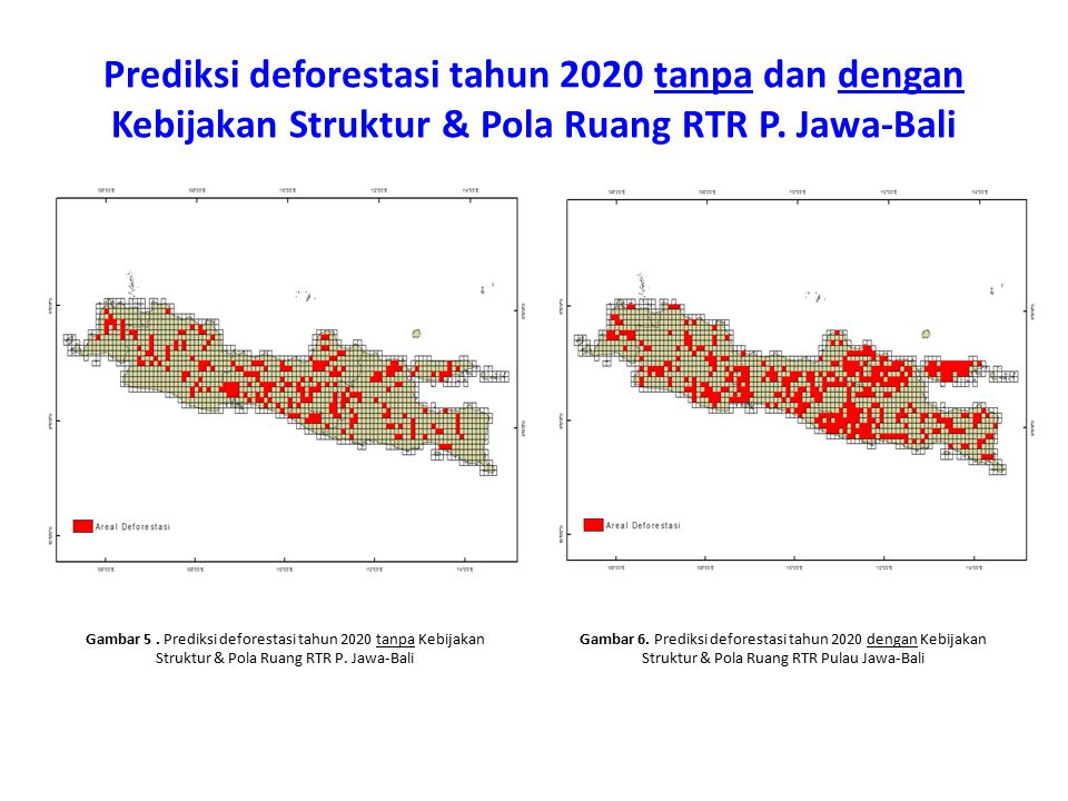 Prediksi deforestasi tahun 2020 tanpa dan dengan Kebijakan Struktur & Pola Ruang RTR P. Jawa-Bali