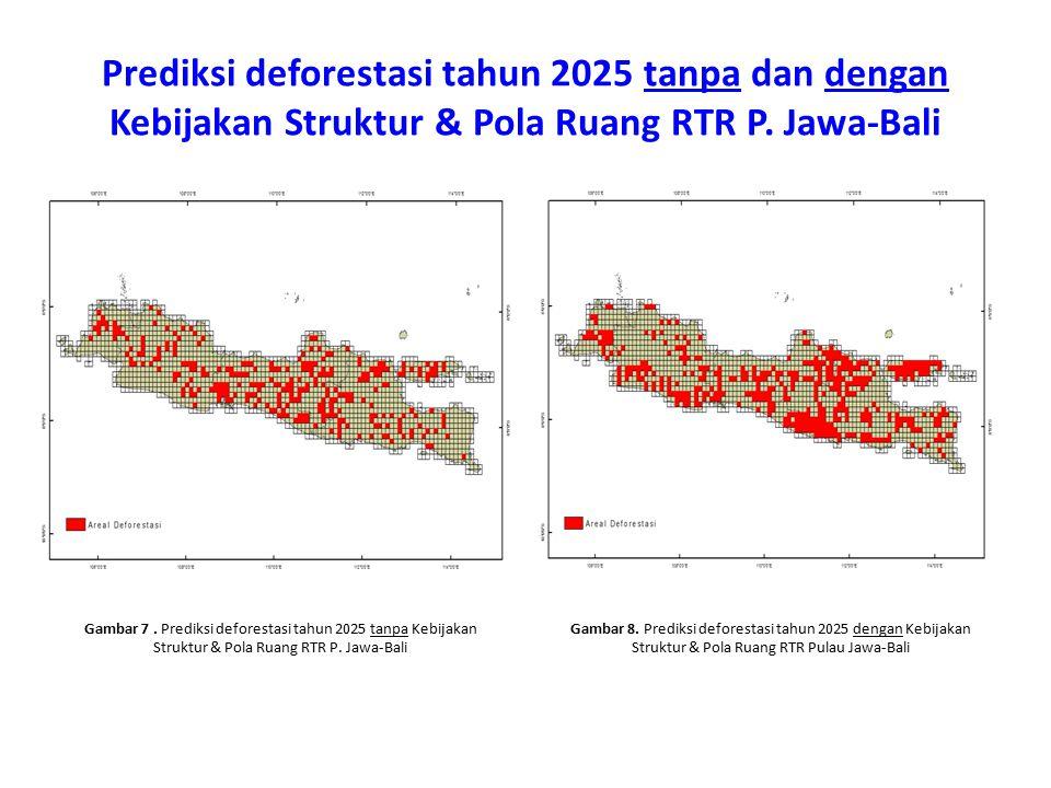 Prediksi deforestasi tahun 2025 tanpa dan dengan Kebijakan Struktur & Pola Ruang RTR P. Jawa-Bali
