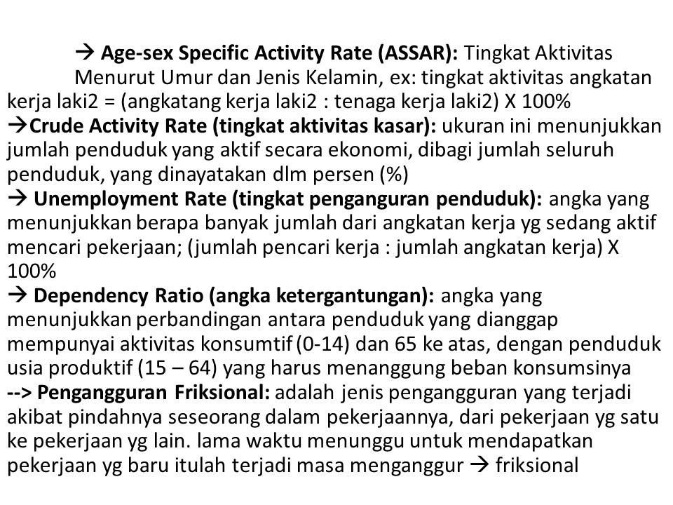 Age-sex Specific Activity Rate (ASSAR): Tingkat Aktivitas