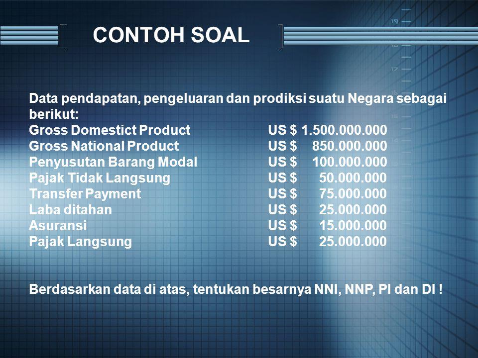 CONTOH SOAL Data pendapatan, pengeluaran dan prodiksi suatu Negara sebagai berikut: Gross Domestict Product US $ 1.500.000.000.