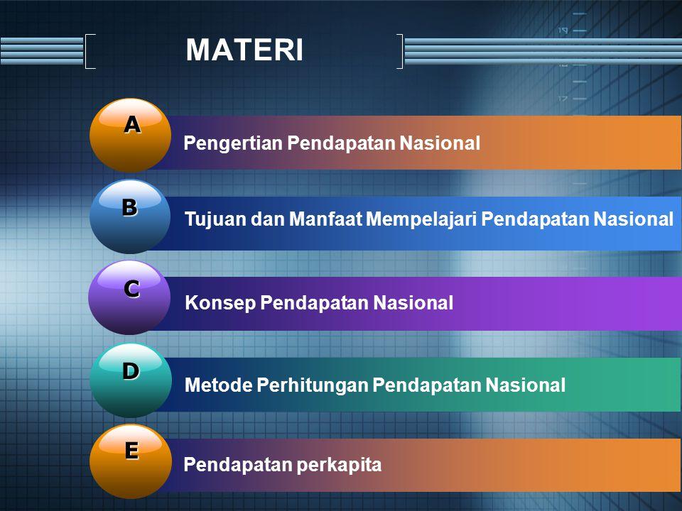 MATERI A B C D E Pengertian Pendapatan Nasional