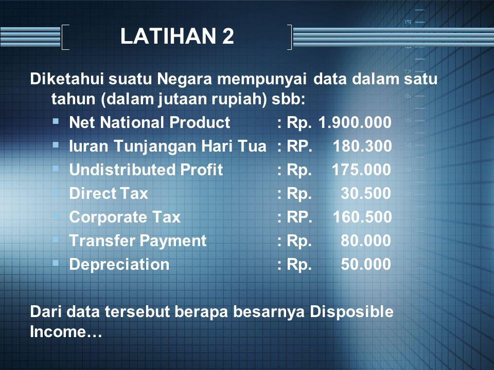LATIHAN 2 Diketahui suatu Negara mempunyai data dalam satu tahun (dalam jutaan rupiah) sbb: Net National Product : Rp. 1.900.000.