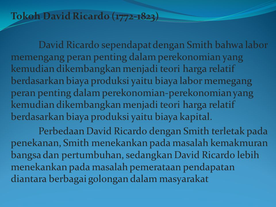 Tokoh David Ricardo (1772-1823)
