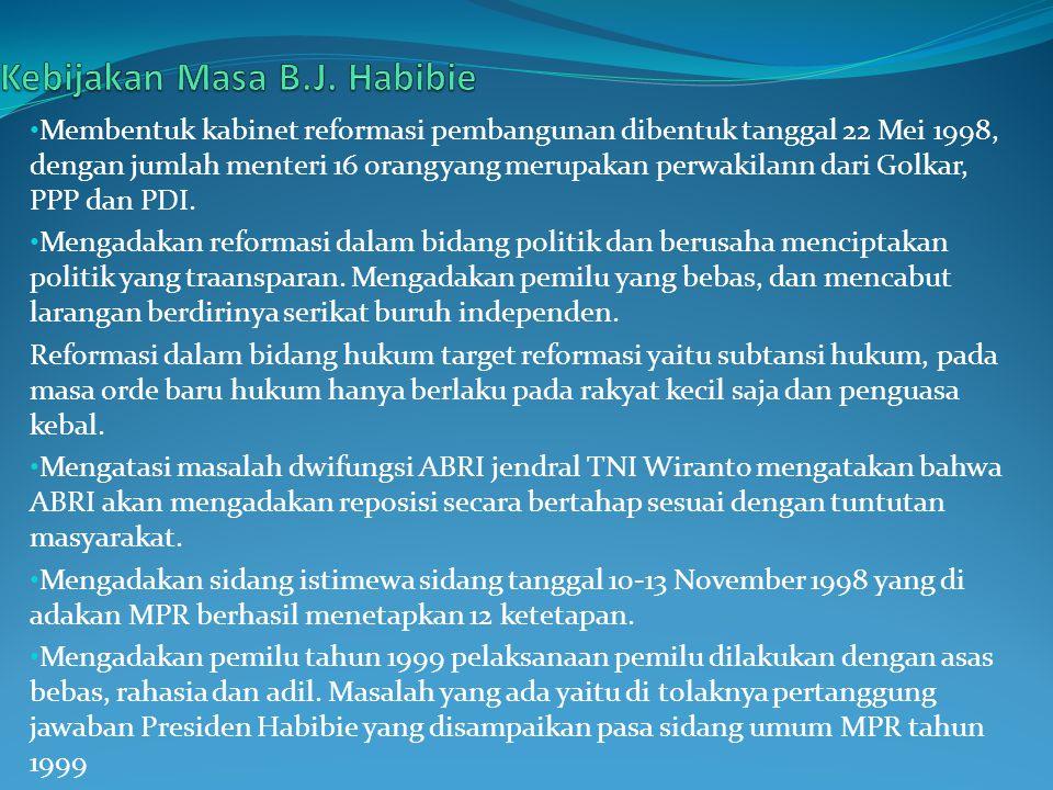 Kebijakan Masa B.J. Habibie