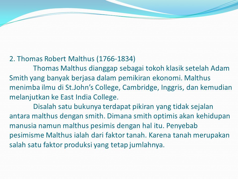 2. Thomas Robert Malthus (1766-1834)