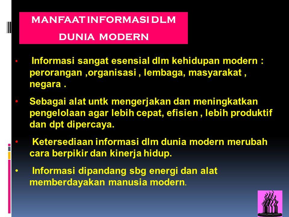 MANFAAT INFORMASI DLM DUNIA MODERN