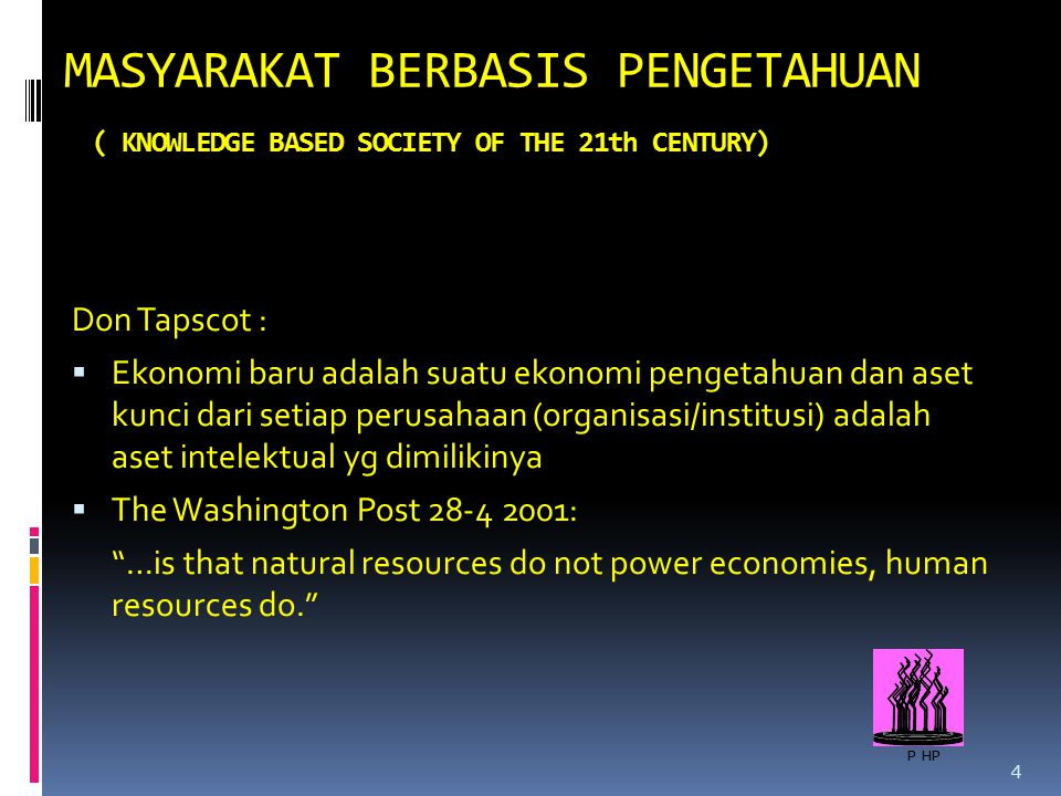 MASYARAKAT BERBASIS PENGETAHUAN ( KNOWLEDGE BASED SOCIETY OF THE 21th CENTURY)