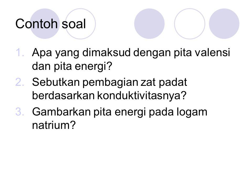 Contoh soal Apa yang dimaksud dengan pita valensi dan pita energi