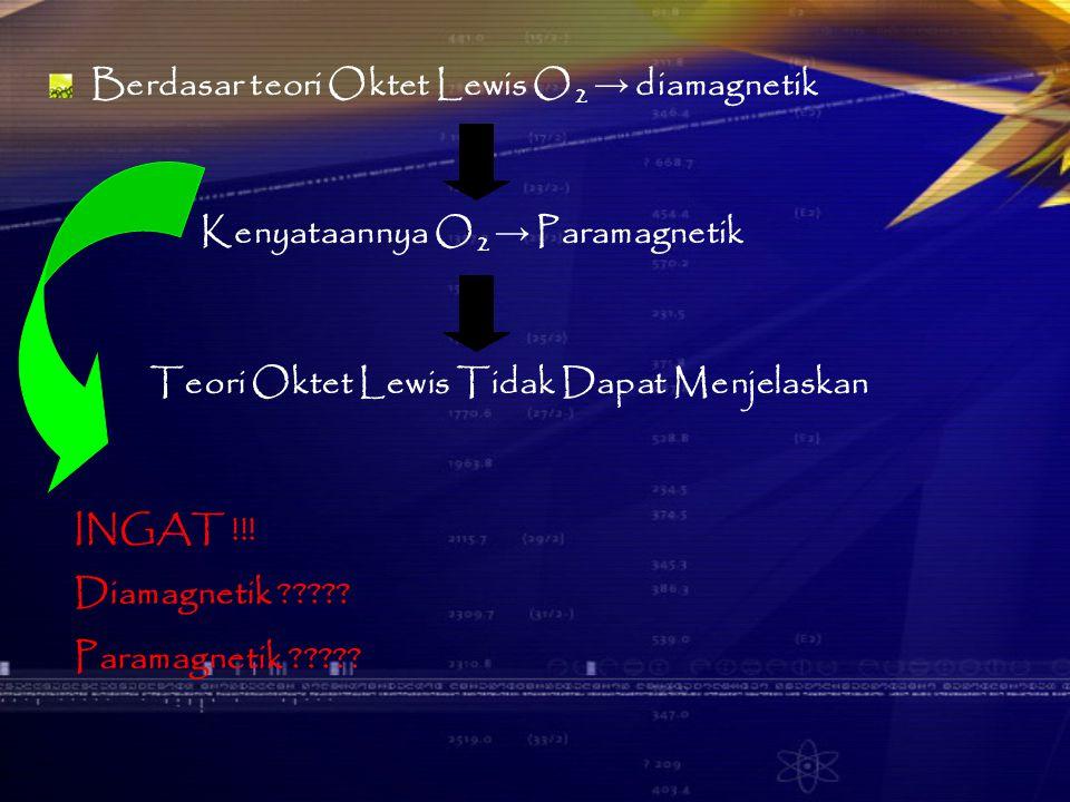 Berdasar teori Oktet Lewis O2 → diamagnetik