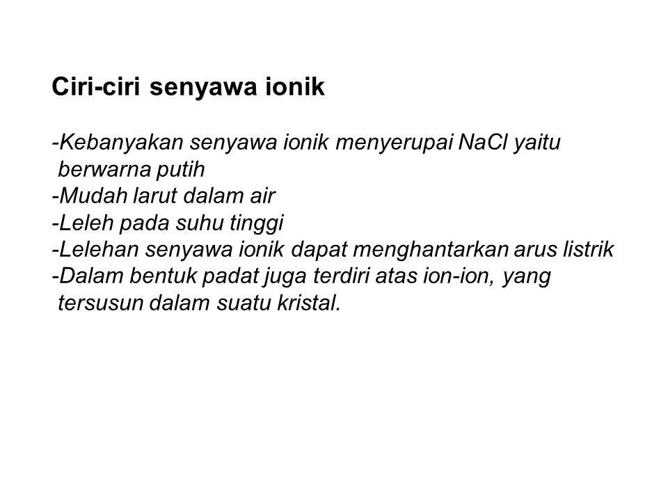 Ciri-ciri senyawa ionik