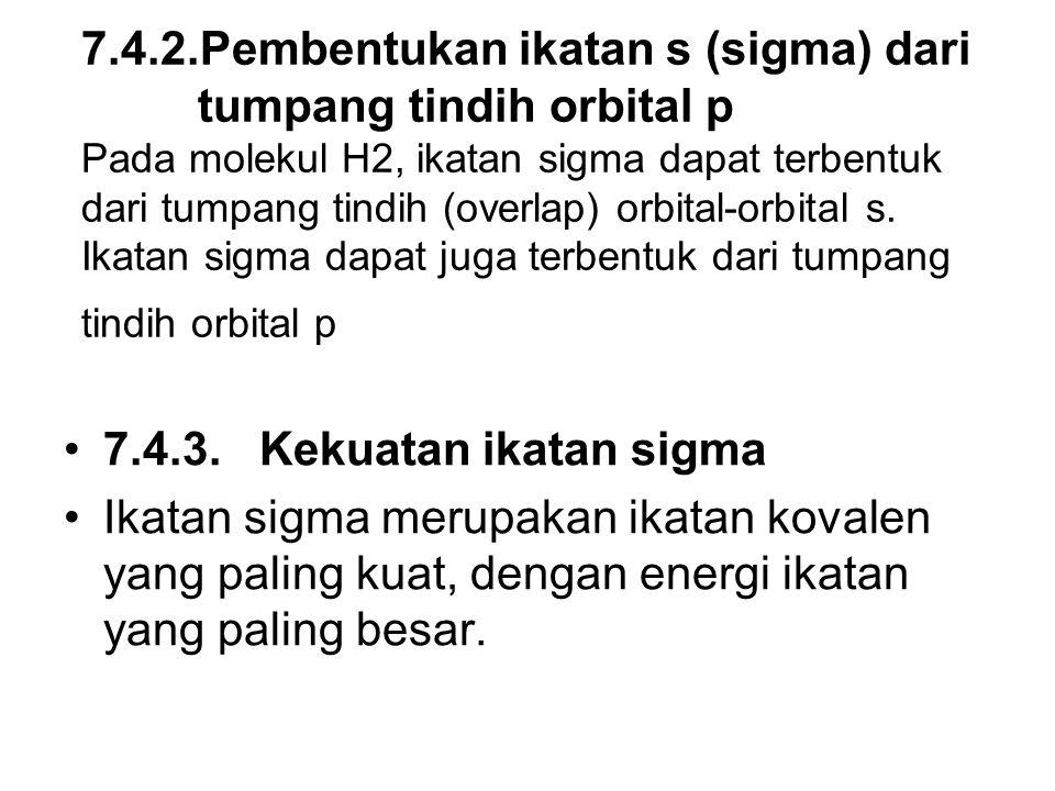 7.4.2.Pembentukan ikatan s (sigma) dari tumpang tindih orbital p Pada molekul H2, ikatan sigma dapat terbentuk dari tumpang tindih (overlap) orbital-orbital s. Ikatan sigma dapat juga terbentuk dari tumpang tindih orbital p