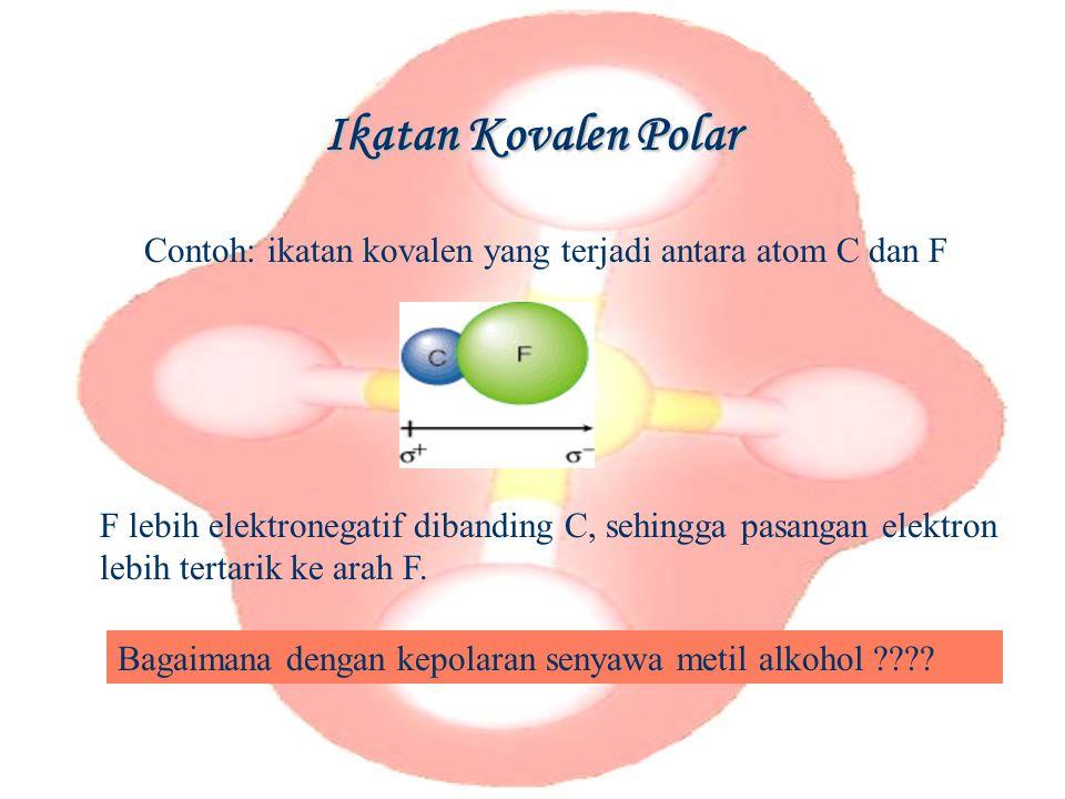 Ikatan Kovalen Polar Contoh: ikatan kovalen yang terjadi antara atom C dan F.