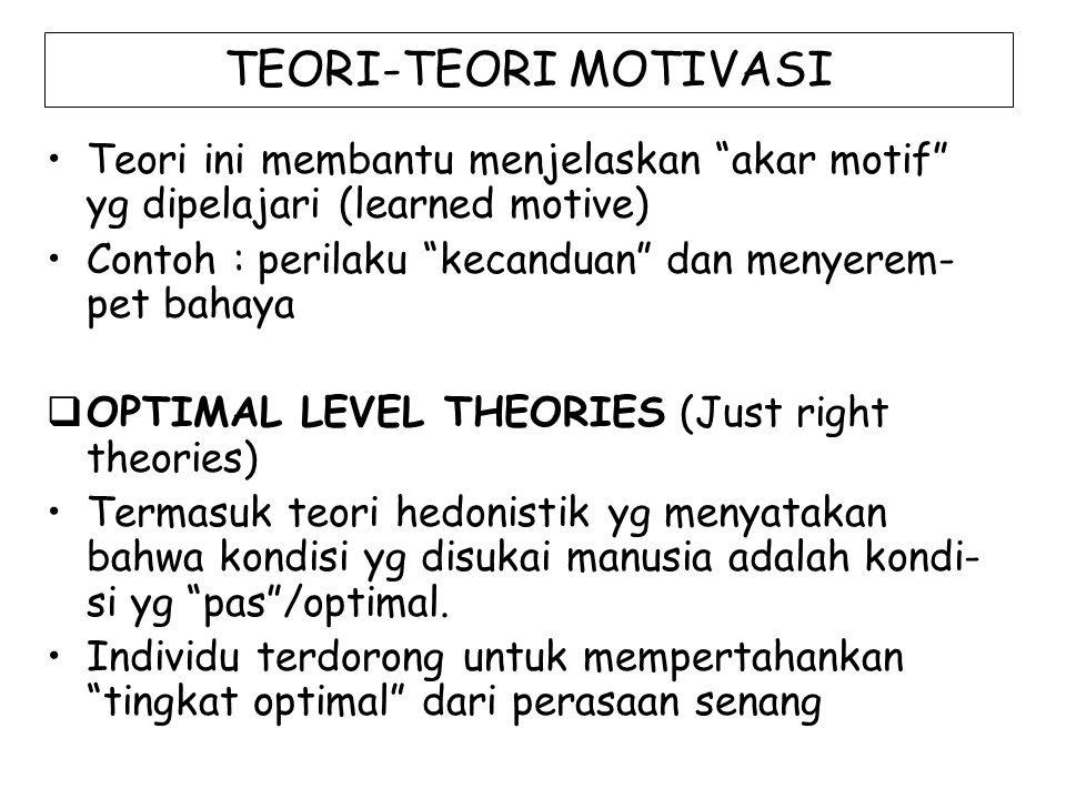 TEORI-TEORI MOTIVASI Teori ini membantu menjelaskan akar motif yg dipelajari (learned motive)