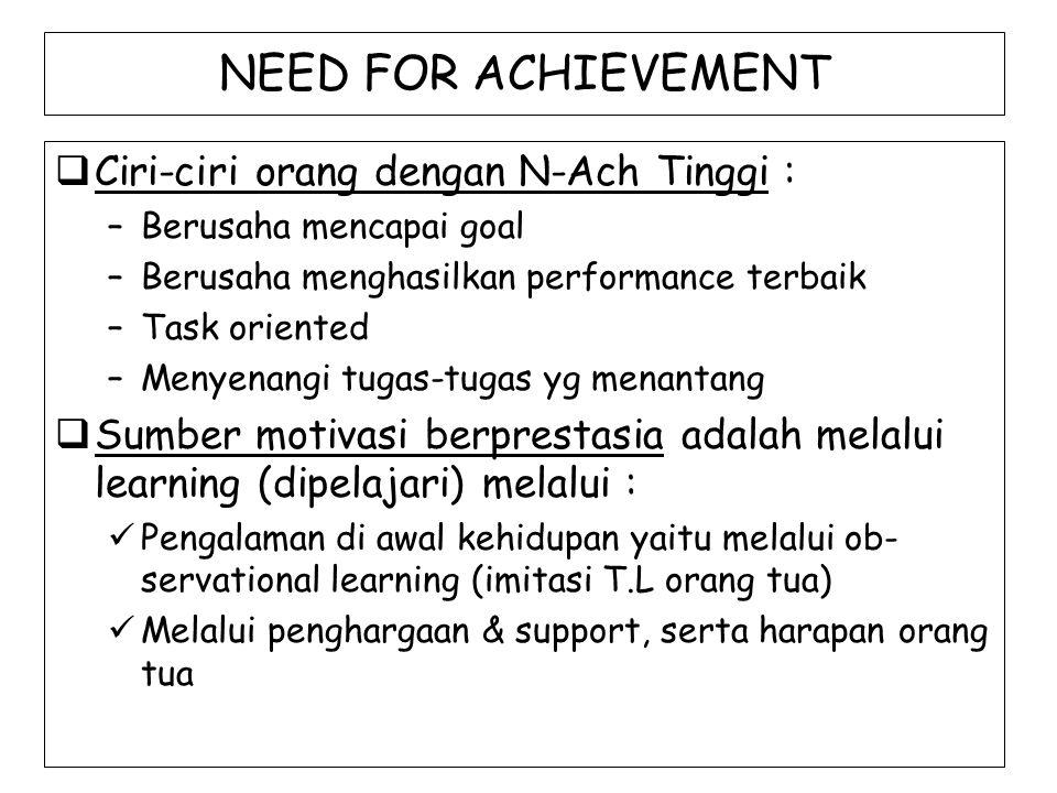 NEED FOR ACHIEVEMENT Ciri-ciri orang dengan N-Ach Tinggi :