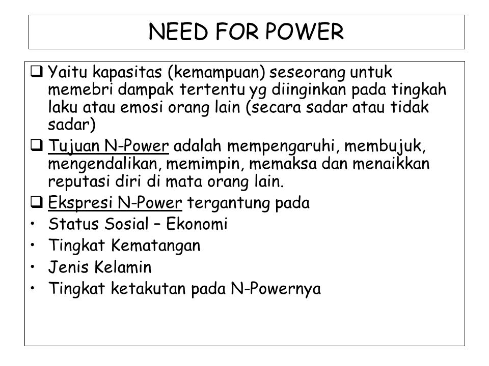 NEED FOR POWER