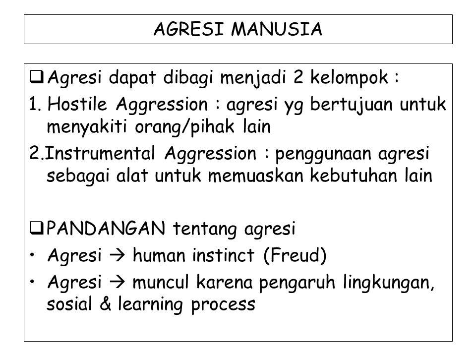 AGRESI MANUSIA Agresi dapat dibagi menjadi 2 kelompok : 1. Hostile Aggression : agresi yg bertujuan untuk menyakiti orang/pihak lain.