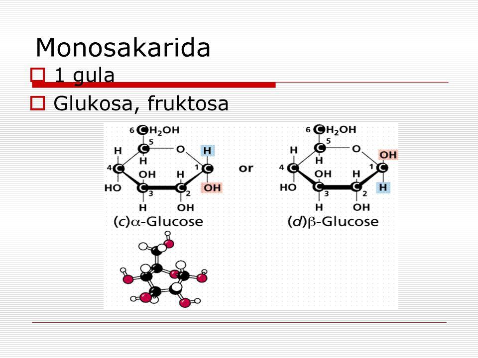 Monosakarida 1 gula Glukosa, fruktosa