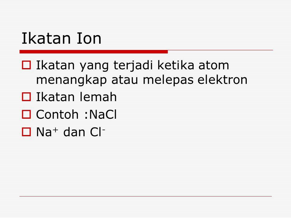 Ikatan Ion Ikatan yang terjadi ketika atom menangkap atau melepas elektron. Ikatan lemah. Contoh :NaCl.