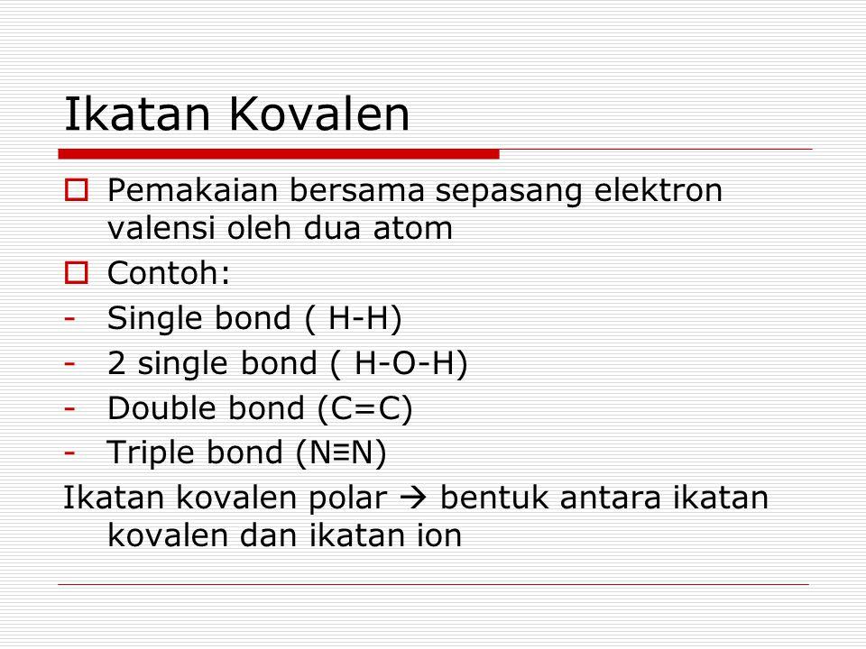 Ikatan Kovalen Pemakaian bersama sepasang elektron valensi oleh dua atom. Contoh: Single bond ( H-H)