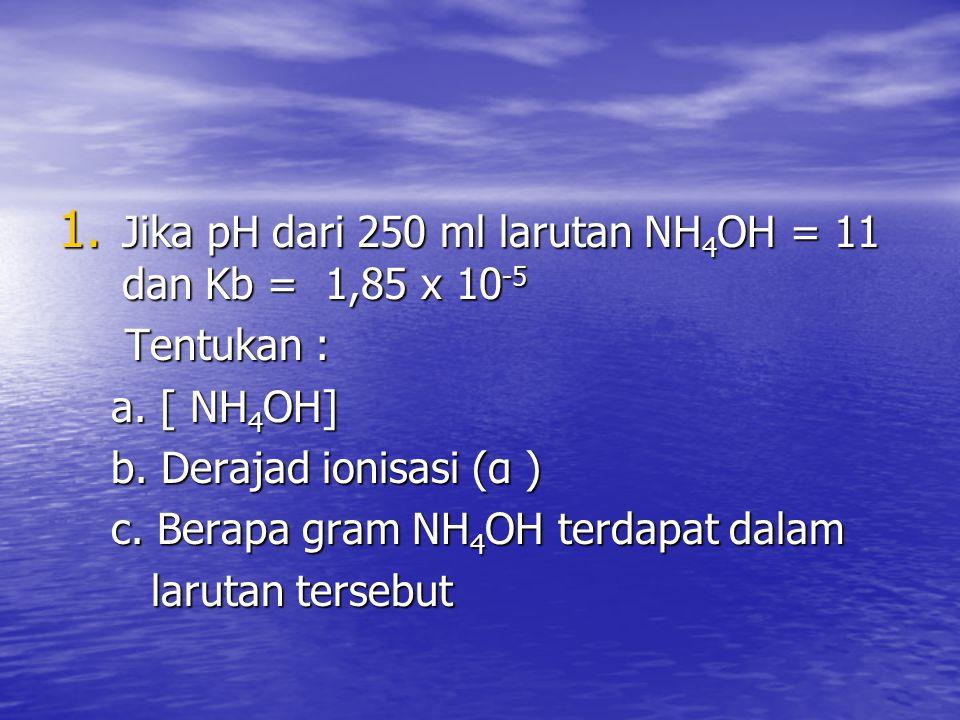 Jika pH dari 250 ml larutan NH4OH = 11 dan Kb = 1,85 x 10-5
