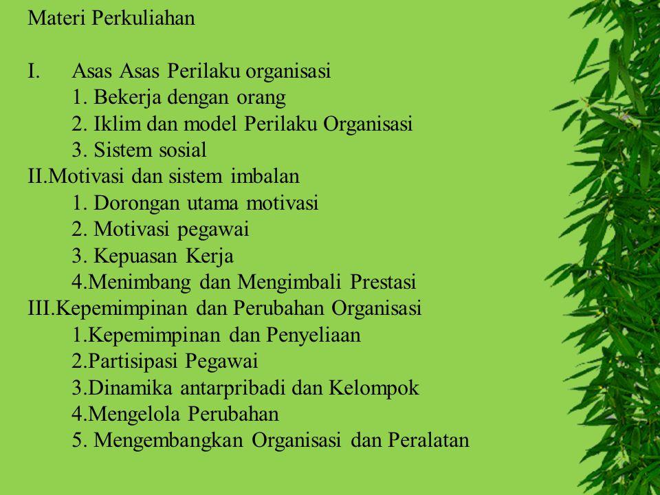Materi Perkuliahan Asas Asas Perilaku organisasi. 1. Bekerja dengan orang. 2. Iklim dan model Perilaku Organisasi.