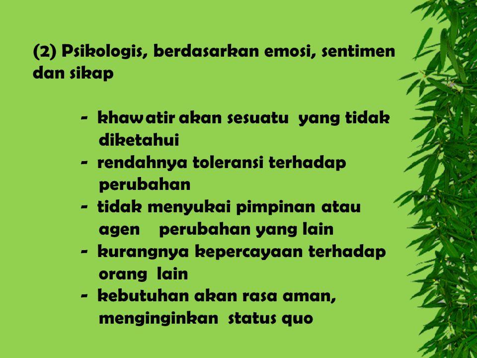 (2) Psikologis, berdasarkan emosi, sentimen dan sikap