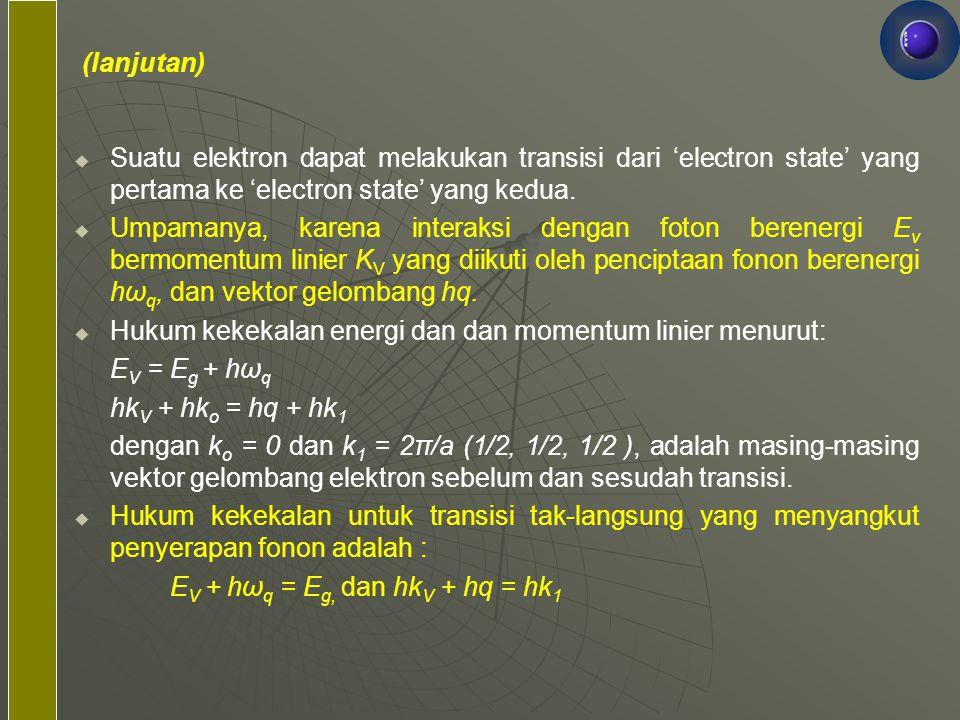 (lanjutan) Suatu elektron dapat melakukan transisi dari 'electron state' yang pertama ke 'electron state' yang kedua.