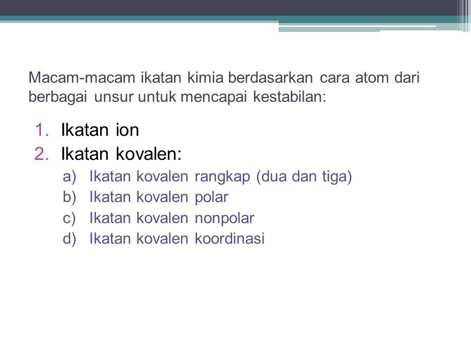 Ikatan ion Ikatan kovalen: