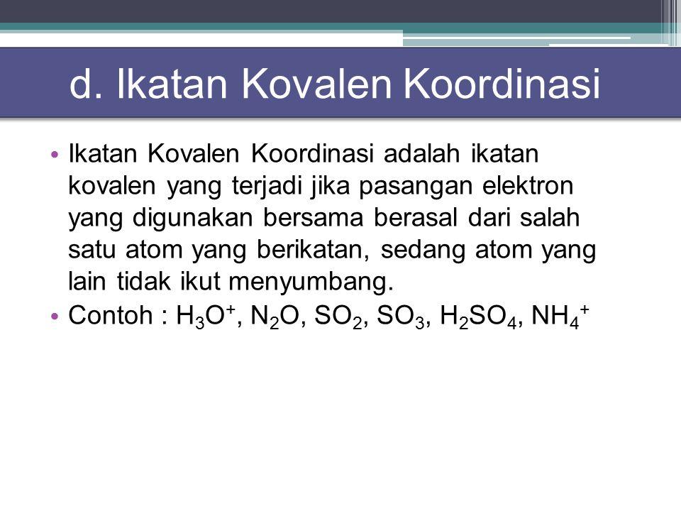 d. Ikatan Kovalen Koordinasi
