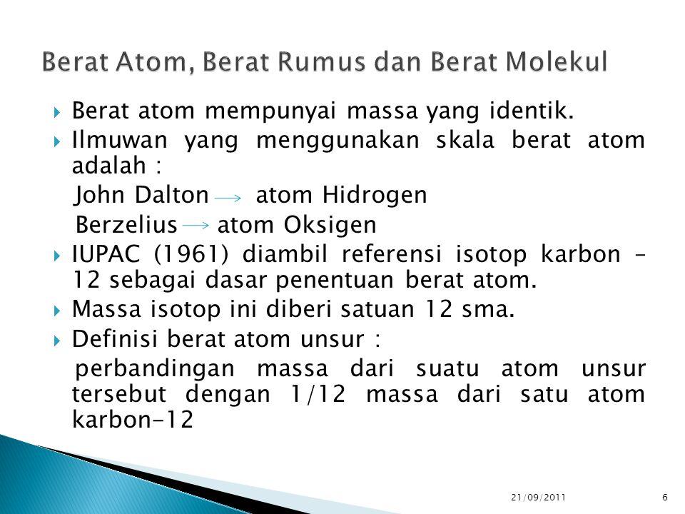 Berat Atom, Berat Rumus dan Berat Molekul