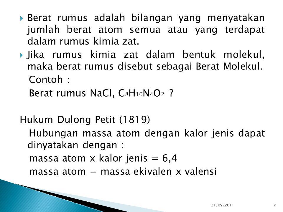 Hubungan massa atom dengan kalor jenis dapat dinyatakan dengan :