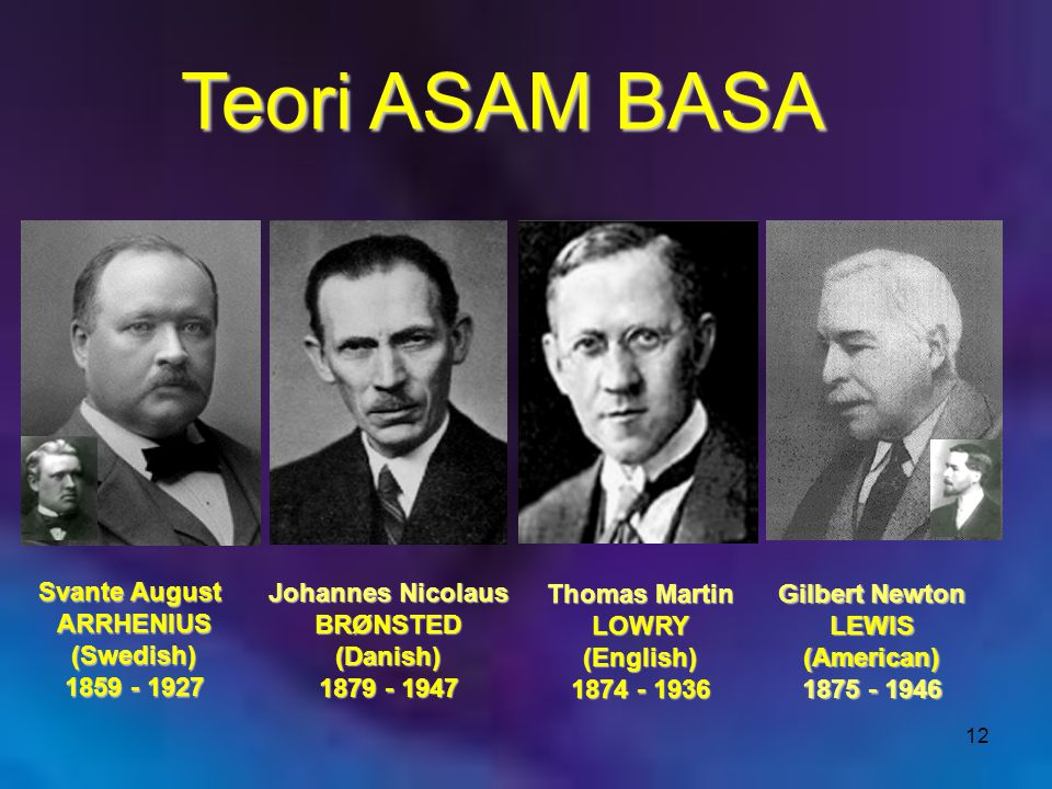Teori ASAM BASA Svante August ARRHENIUS (Swedish) 1859 - 1927