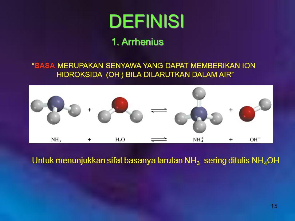 DEFINISI 1. Arrhenius. BASA MERUPAKAN SENYAWA YANG DAPAT MEMBERIKAN ION. HIDROKSIDA (OH-) BILA DILARUTKAN DALAM AIR