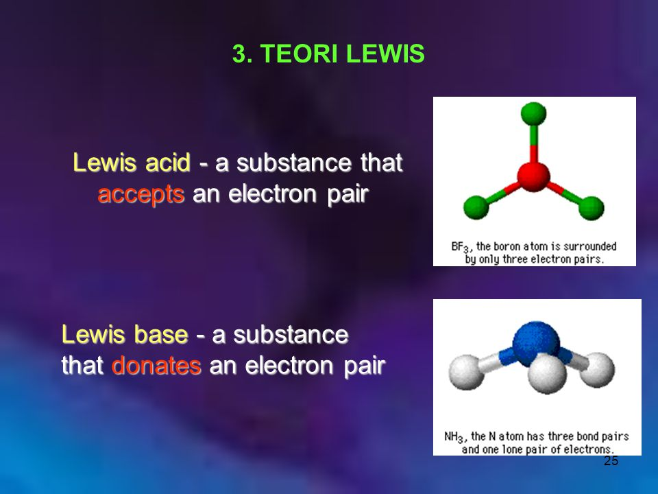 3. TEORI LEWIS Lewis acid - a substance that accepts an electron pair.