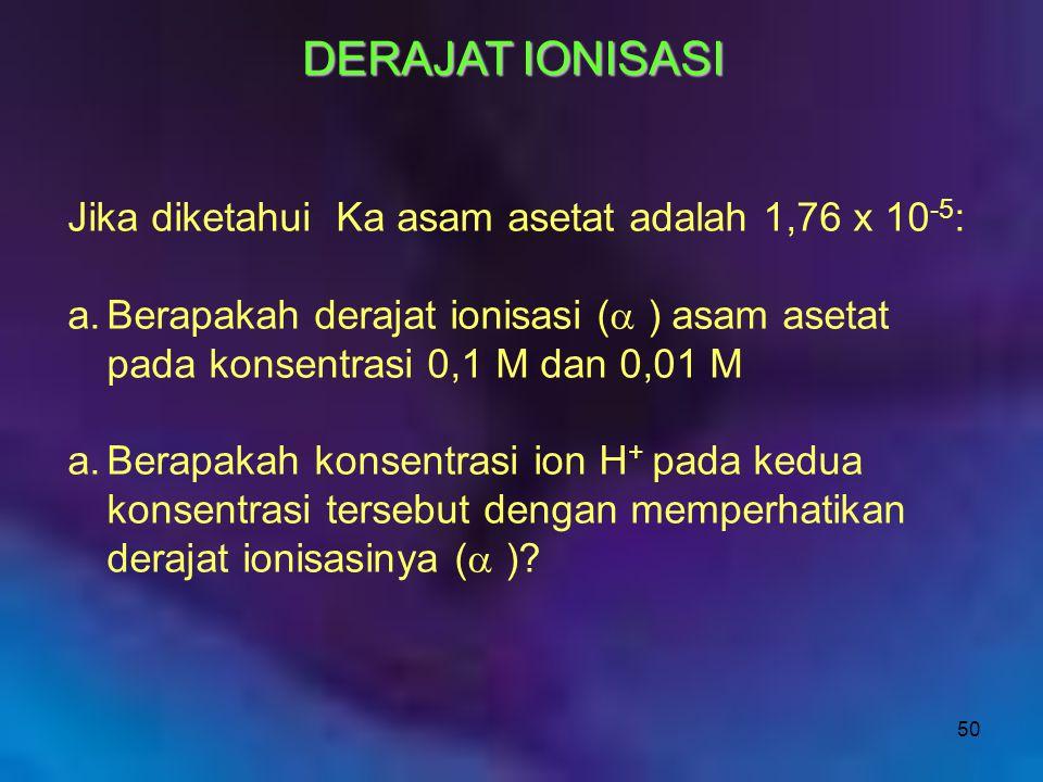 DERAJAT IONISASI Jika diketahui Ka asam asetat adalah 1,76 x 10-5: