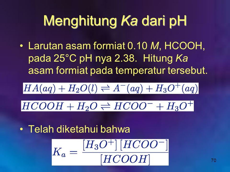 Menghitung Ka dari pH Larutan asam formiat 0.10 M, HCOOH, pada 25°C pH nya 2.38. Hitung Ka asam formiat pada temperatur tersebut.
