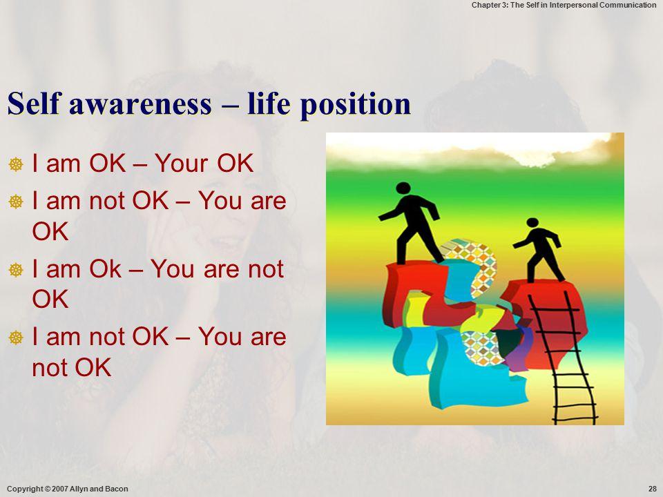 Self awareness – life position