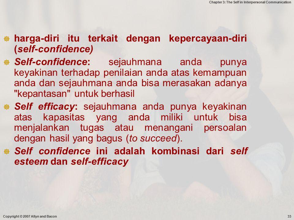 harga-diri itu terkait dengan kepercayaan-diri (self-confidence)