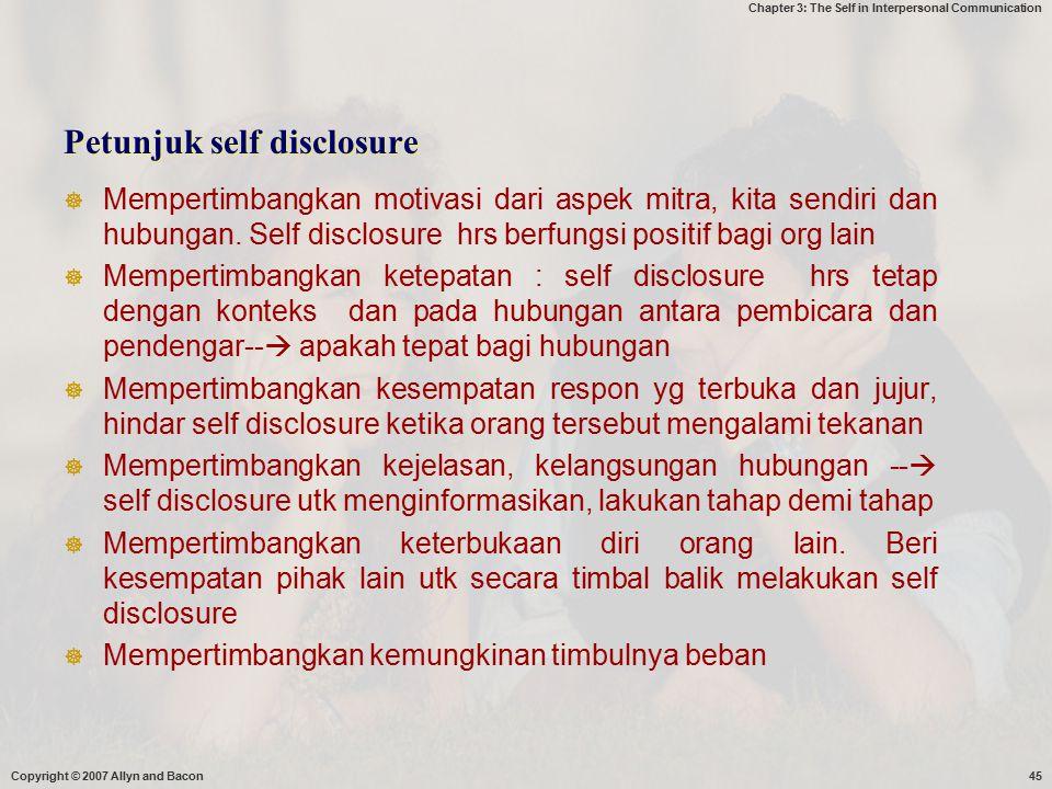 Petunjuk self disclosure