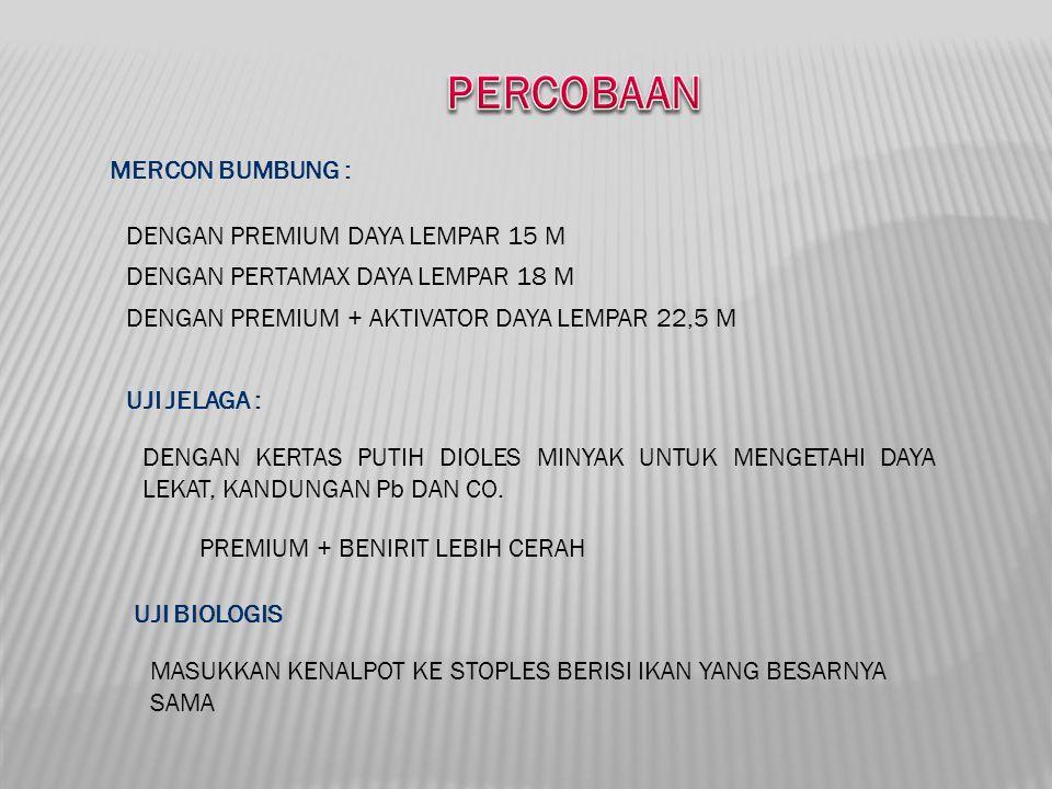 PERCOBAAN MERCON BUMBUNG : DENGAN PREMIUM DAYA LEMPAR 15 M