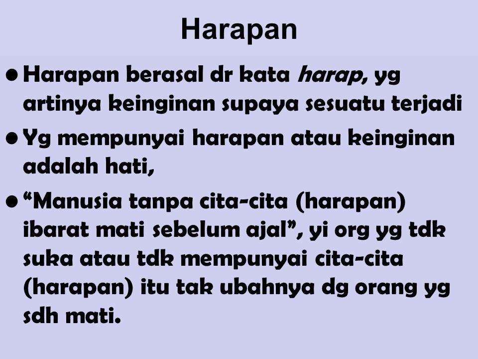 Harapan Harapan berasal dr kata harap, yg artinya keinginan supaya sesuatu terjadi. Yg mempunyai harapan atau keinginan adalah hati,