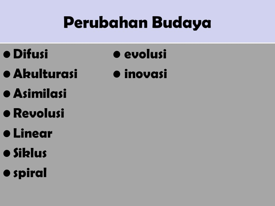 Perubahan Budaya Difusi • evolusi Akulturasi • inovasi Asimilasi