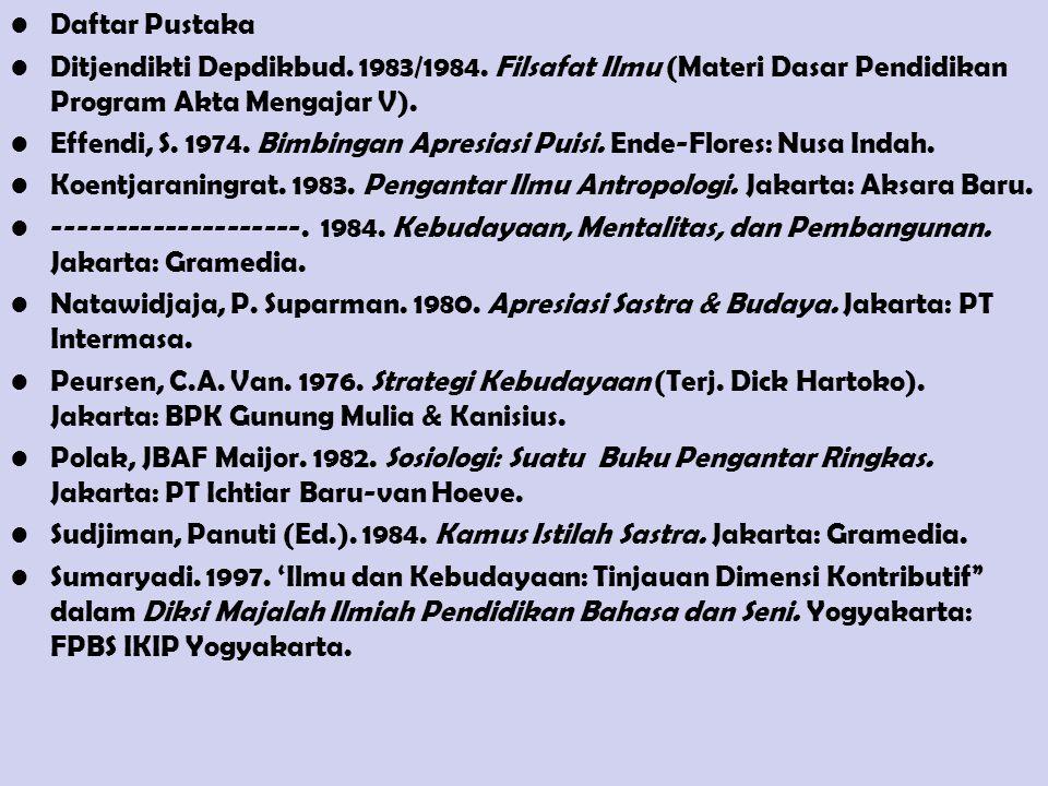 Daftar Pustaka Ditjendikti Depdikbud. 1983/1984. Filsafat Ilmu (Materi Dasar Pendidikan Program Akta Mengajar V).